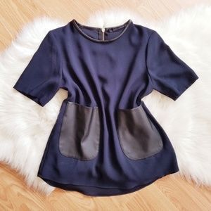 Zara Navy Blue Top with faux Leather Pockets